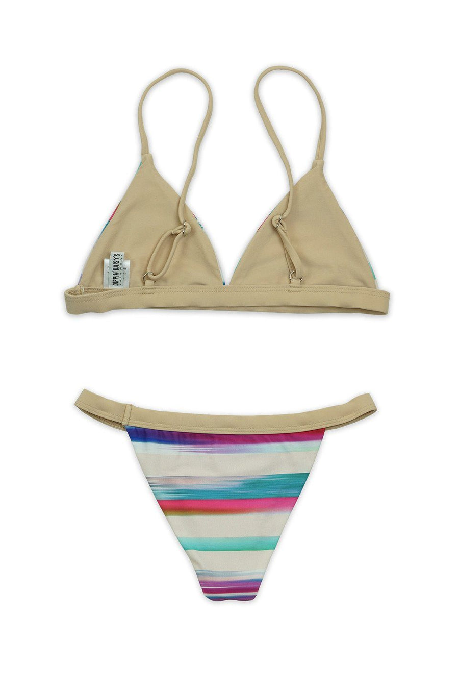 Tan Stripe Two-Piece Over-the-Shoulder Triangle Top with Banded Bottom - Front - Dippin' Daisy's Swimwear