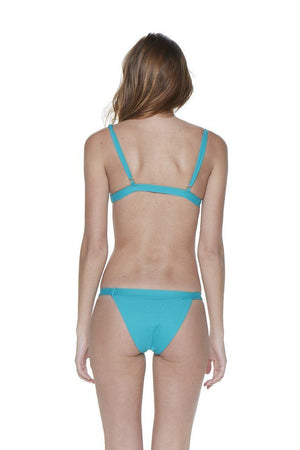 Teal Two-Piece Over-the-Shoulder Triangle Top with Banded Bottom - Back - Dippin' Daisy's Swimwear