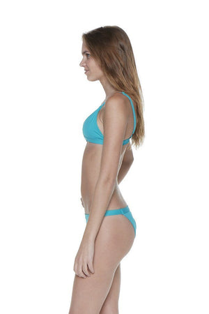 Teal Two-Piece Over-the-Shoulder Triangle Top with Banded Bottom - Side - Dippin' Daisy's Swimwear