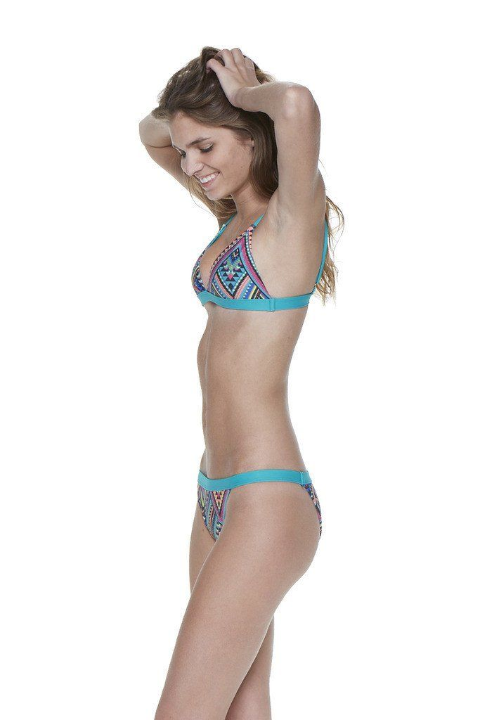 Multi Triangle Two-Piece Over-the-Shoulder Triangle Top with Banded Bottom - Front - Dippin' Daisy's Swimwear