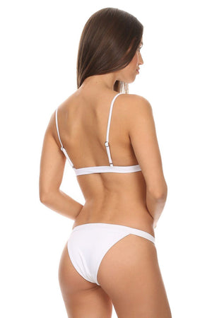 White Two-Piece Over-the-Shoulder Triangle Top with Banded Bottom - Back - Dippin' Daisy's Swimwear