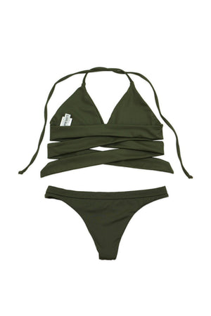 Solid Olive Two-Piece Wraparound Halter Bikini - Back - Dippin' Daisy's Swimwear