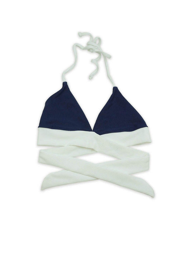 Seamless Wrap Around Top - Navy Rib