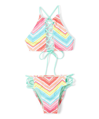 Girl's Chevron Hi Neck Lace Up Top and Strappy Bikini Bottom - Front - Dippin' Daisy's Swimwear