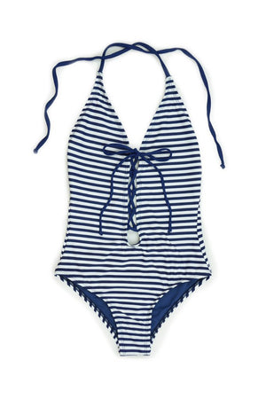 Navy Stripe Lace Up and Low Back One Piece Swimsuit Front - Dippin' Daisy's Swimwear
