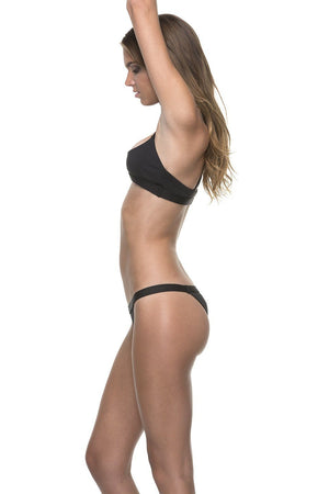 Black Over the Shoulder Crossback Bandeau w/ Banded Cheeky Bottom - Dippin' Daisy's Swimwear