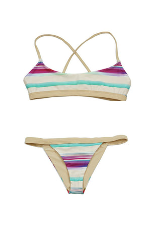 Multi Tanstripe Over the Shoulder Crossback Bandeau w/ Banded Cheeky Bottom - Dippin' Daisy's Swimwear