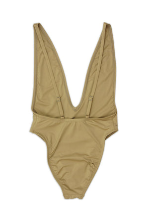 Beige High Cut Low V-Neck One Piece Back - Dippin' Daisy's Swimwear
