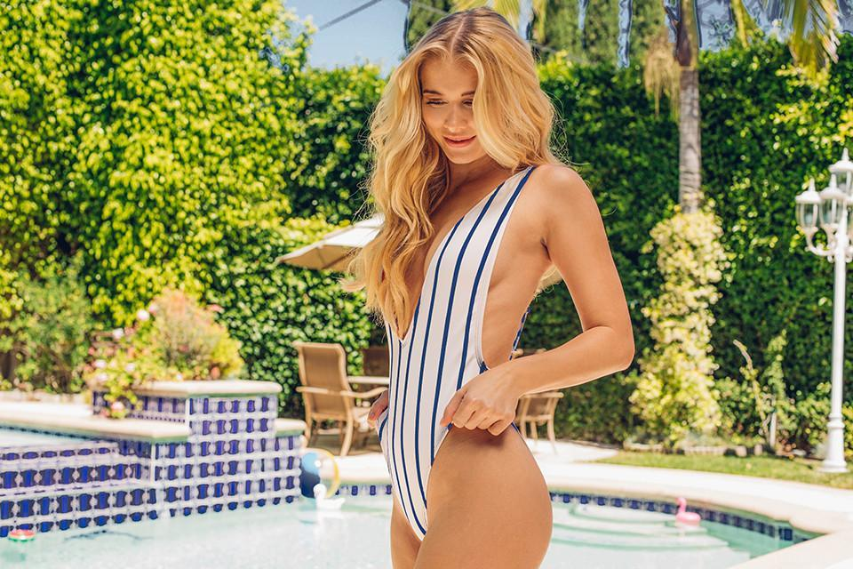 Low V-Neck Cheeky Coverage One-Piece - Navy Stripe