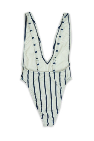 Navy Stripe High Cut Low V-Neck One Piece Back - Dippin' Daisy's Swimwear