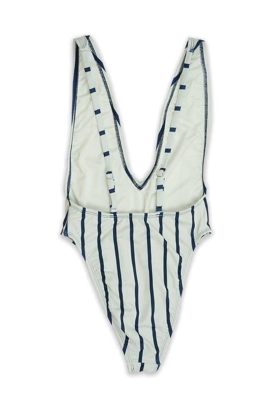 Navy Stripe High Cut Low V-Neck One Piece Front - Dippin' Daisy's Swimwear