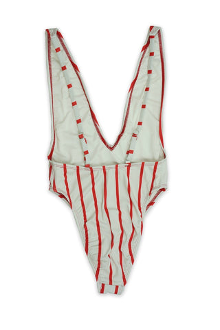 Red Stripe High Cut Low V-Neck One Piece - Dippin' Daisy's Swimwear