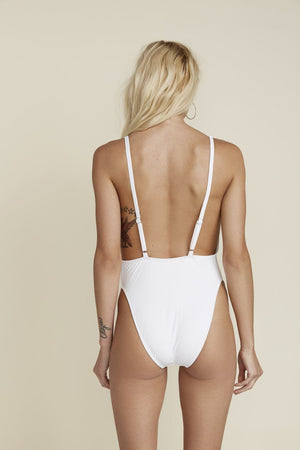 Low V-Neck Cheeky Coverage One-Piece - White