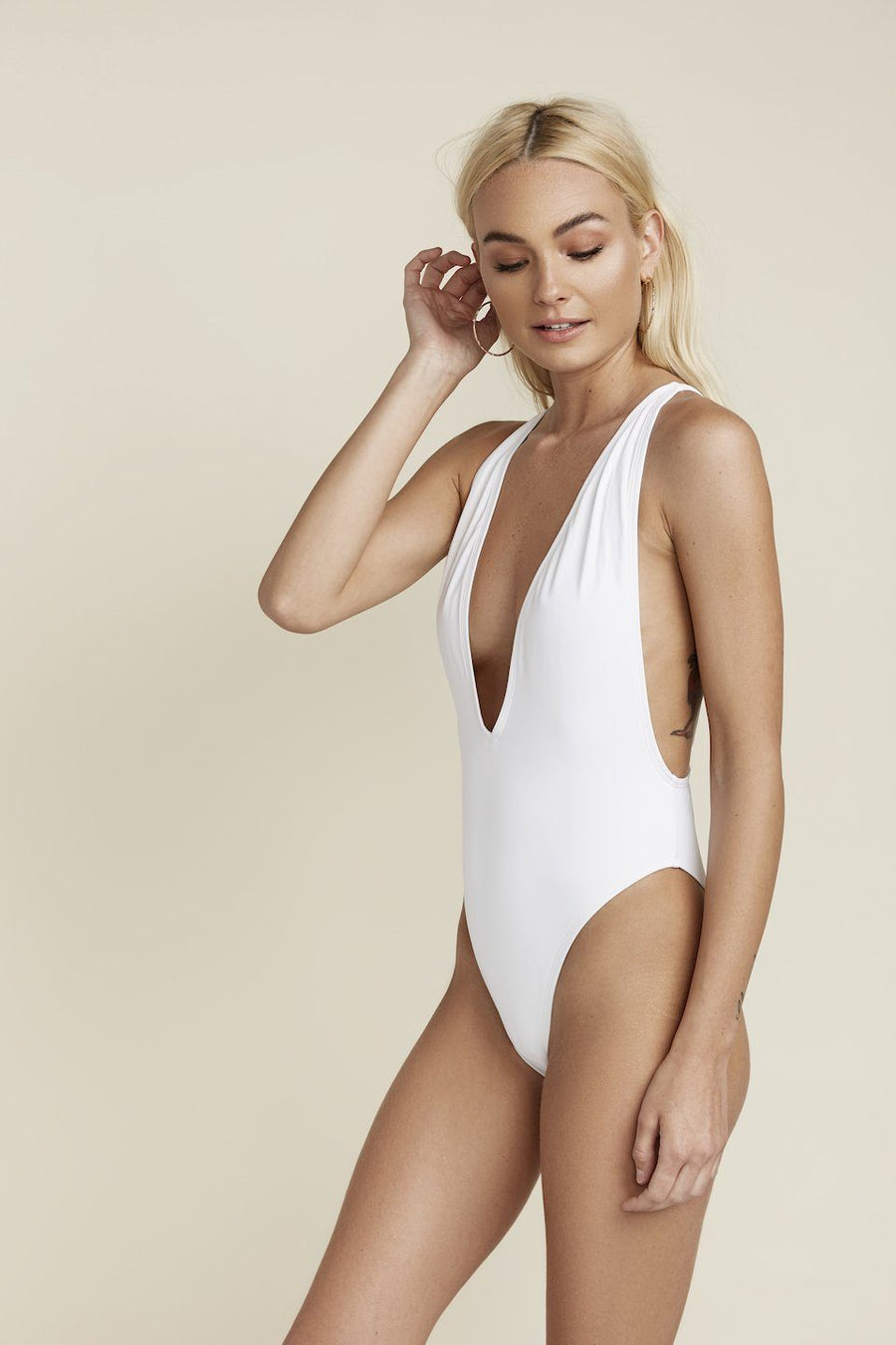 Low V-Neck Cheeky Coverage One-Piece - White Main Image