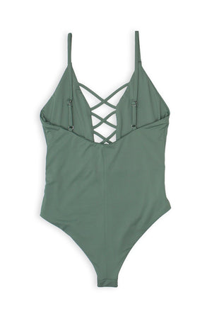 CAGED FRONT MODERATE COVERAGE ONE PIECE - AVOCADO Back View