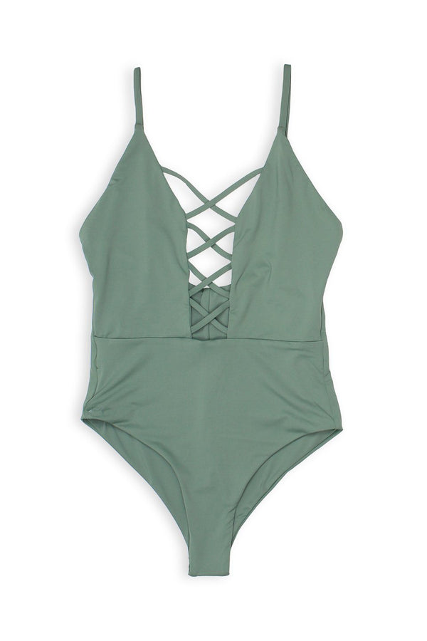 Caged Front Moderate Coverage One-Piece - Avocado