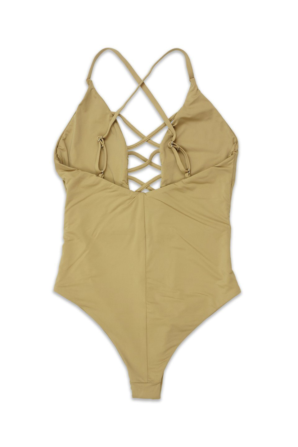Caged Front Moderate Coverage One-Piece - Beige