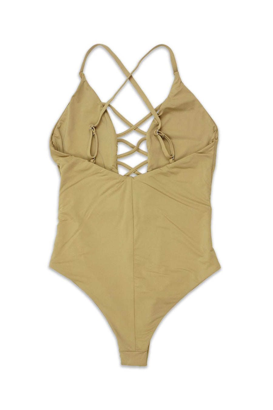 CAGED FRONT MODERATE COVERAGE ONE PIECE - BEIGE - Dippin' Daisy's Swimwear