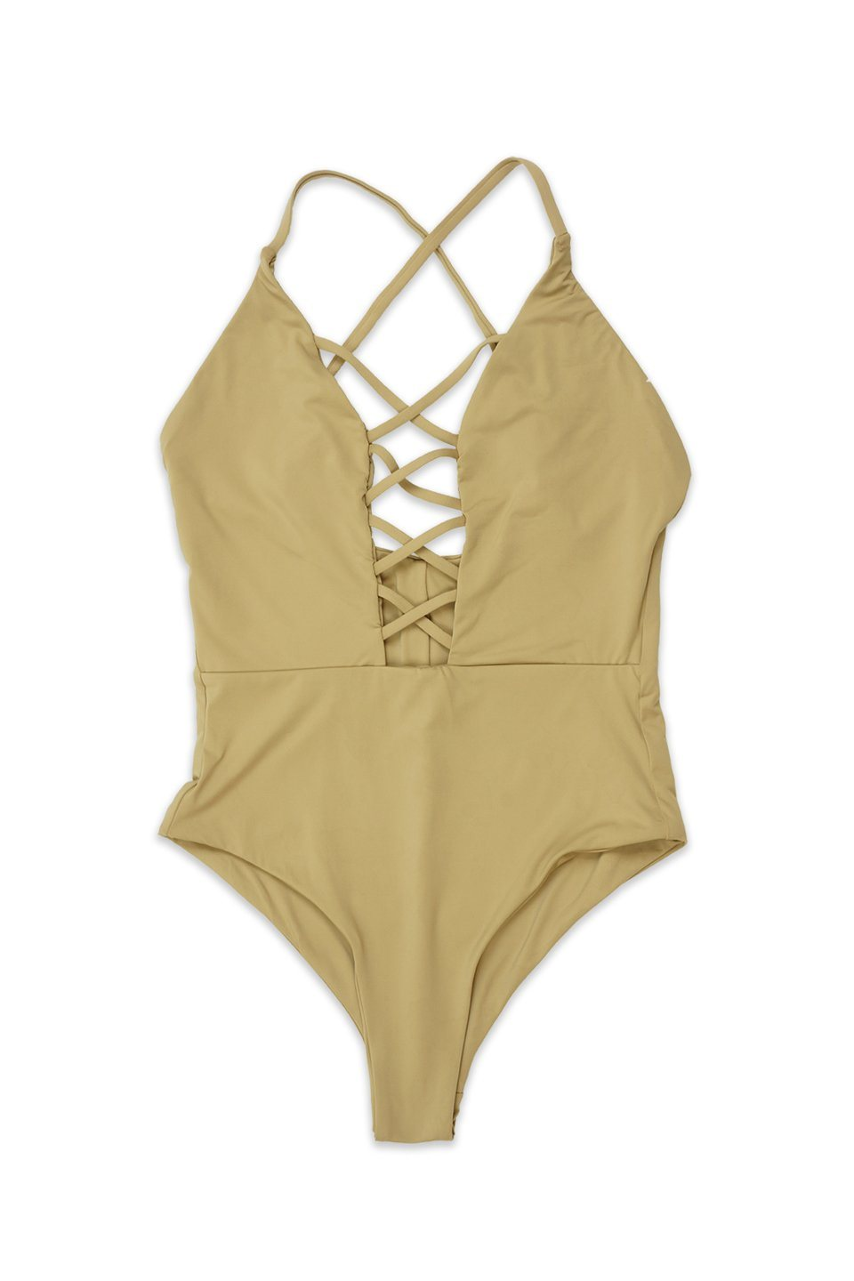 Beige Seamless Caged Front One Piece Front - Dippin' Daisy's Swimwear