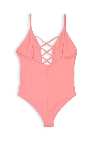 CAGED FRONT MODERATE COVERAGE ONE PIECE - CORAL Back View