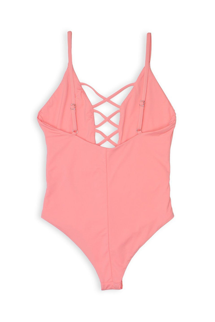 CAGED FRONT MODERATE COVERAGE ONE PIECE - CORALFront View