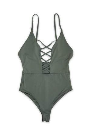 CAGED FRONT MODERATE COVERAGE ONE PIECE - DARK SILVERFront View