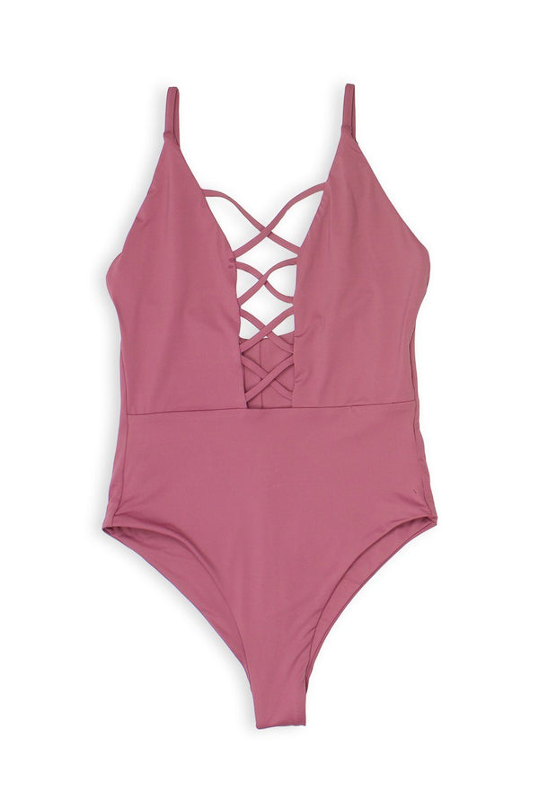 Caged Front Moderate Coverage One-Piece - Mauve