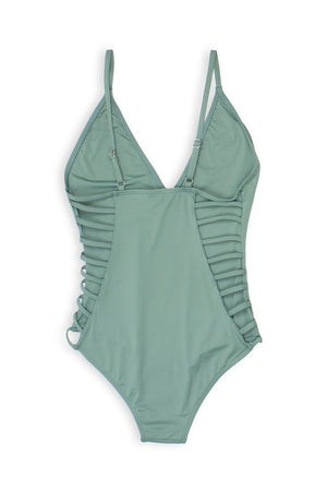 Caged Side Moderate Coverage One-Piece - Avocado