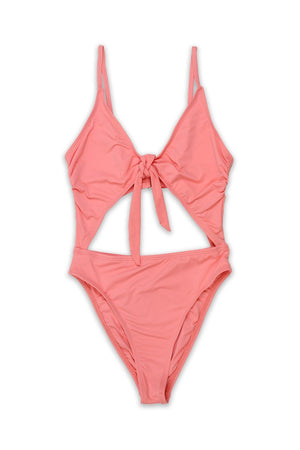 TIE FRONT CHEEKY COVERAGE ONE PIECE - CORALFront View