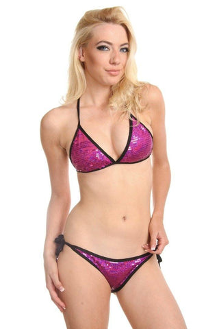 Fuchsia Sequin Triangle Scrunch Butt Bikini with Black Trim - Dippin' Daisy's Swimwear
