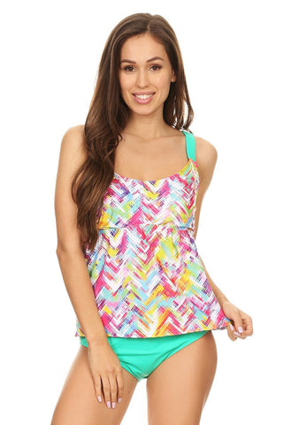 Mint Plaid Over The Shoulder Tankini Set - Dippin' Daisy's Swimwear