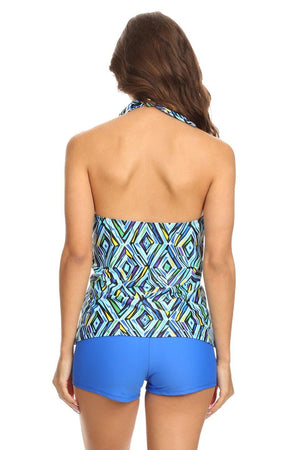 Blue Crystal Halter Tankini with Boyshort - Dippin' Daisy's Swimwear