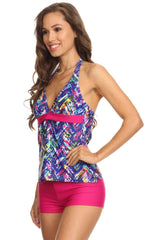 Blue Plaid Halter Tankini with Boyshort - Dippin' Daisy's Swimwear