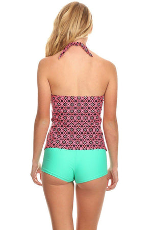 Digital Halter Tankini with Boyshort - Dippin' Daisy's Swimwear