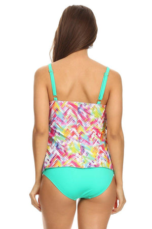 Mint Plaid Two-Tier Tankini - Back - Dippin' Daisy's Swimwear