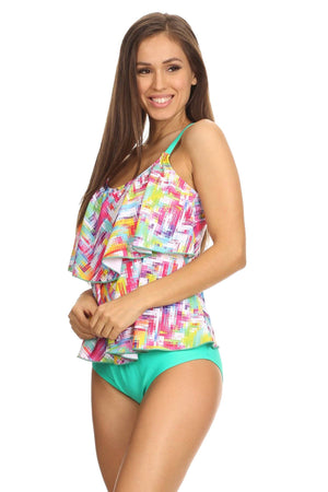Mint Plaid Two-Tier Tankini