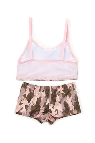 Pink & Brown Camo Girl's Tankini with Boyshort - Back - Dippin' Daisy's Swimwear