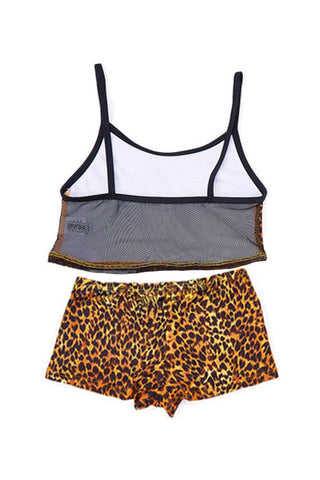 Brown Cheetah Girl's Tankini with Boyshort - Back - Dippin' Daisy's Swimwear