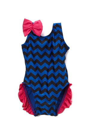 Infant and Toddler's Navy Chevron One Piece Girl's with Ruffles - Front - Dippin' Daisy's Swimwear