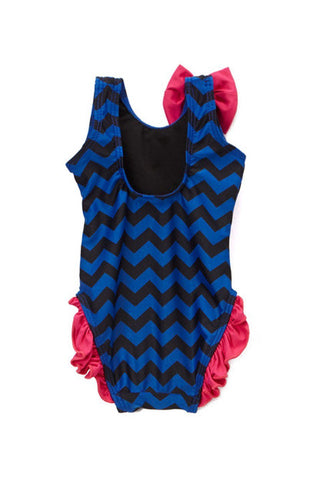Infant and Toddler's Navy Chevron One Piece Girl's with Ruffles - Back - Dippin' Daisy's Swimwear