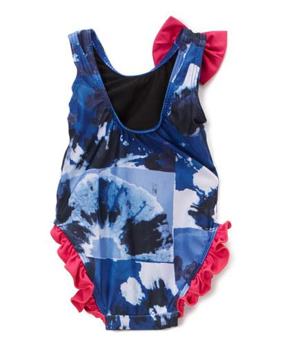 Infant and Toddler's Blue Swell One Piece Girl's with Ruffles - Front - Dippin' Daisy's Swimwear