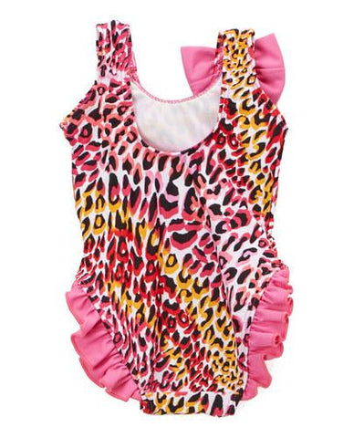 Infant and Toddler's Pink Tiger One Piece Girl's with Ruffles - Back - Dippin' Daisy's Swimwear