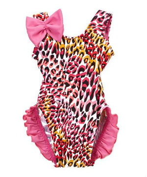 Infant And Toddler'S Pink Tiger One-Piece Girl'S With Ruffles