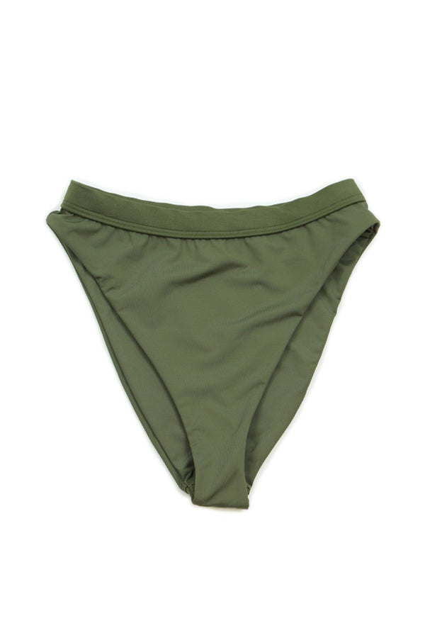 Seamless Cheeky Hi Waist Banded Bottom - Olive