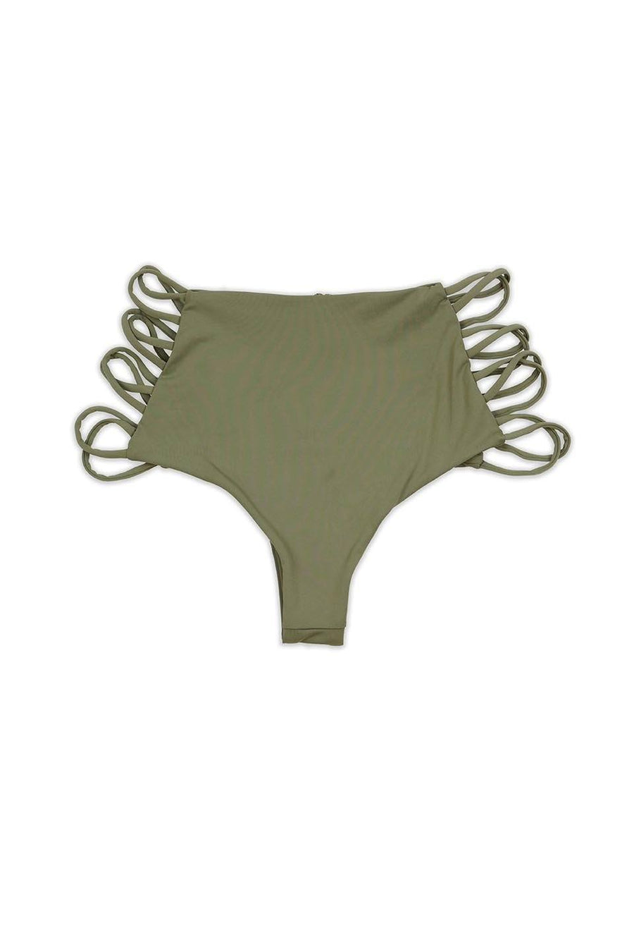 Taupe Seamless Strappy High Waist Cheeky BOTTOM Front - Dippin' Daisy's Swimwear