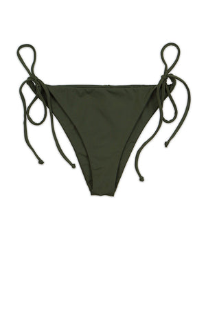 Olive Seamless Tie Side Cheeky Bikini Bottom Front - Dippin' Daisy's Swimwear