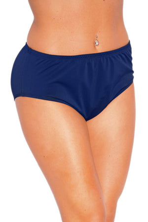 Plus Size Solid Navy High Waist Lined Bottom