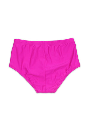 Solid Fuchsia High Waist Lined Bottom - Back - Dippin' Daisy's