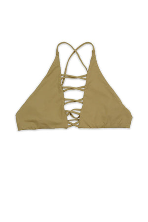 Seamless Caged Cross Back Top - Beige