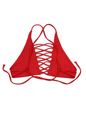 SEAMLESS CAGED CROSS BACK TOP - CHERRY / RED Back View
